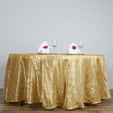 "108"" Champagne Round Pintuck Tablecloth - Clearance SALE"