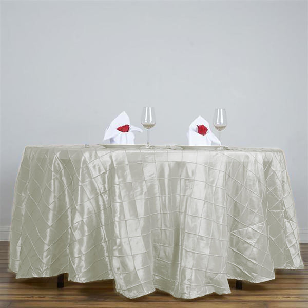 "108"" Ivory Round Pintuck Tablecloth - Clearance SALE"