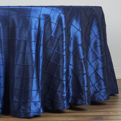 108 Round Tablecloth Pintuck - Navy Blue