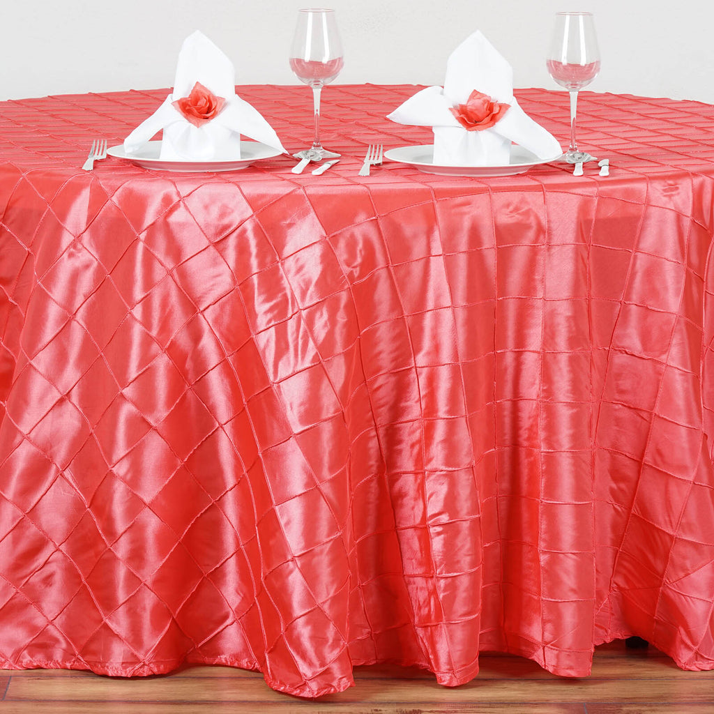 120 Quot Round Tablecloth Pintuck Coral Tablecloths