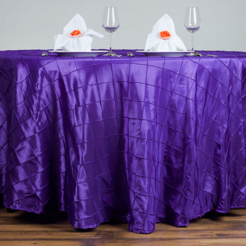120 Quot Purple Pintuck Round Tablecloth Tablecloths Factory