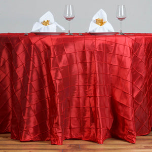 "120"" Round Tablecloth Pintuck - Red"