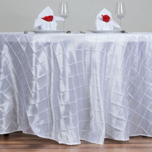 "120"" Round Tablecloth Pintuck - White"