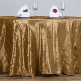 "132"" Round Tablecloth Pintuck - Gold"