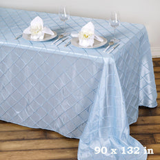 Serenity Blue Pintuck Tablecloth 90x132