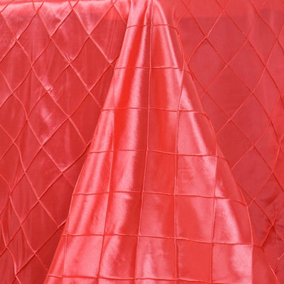 "90"" x 132"" Coral Taffeta Pintuck Rectangular Tablecloth"