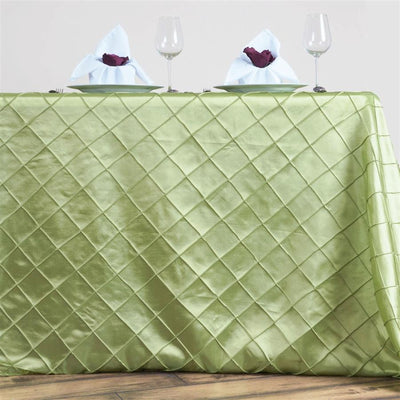 "90"" x 132"" Apple Green Taffeta Pintuck Rectangular Tablecloth"