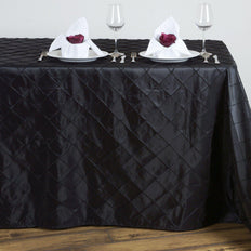 Black Pintuck Tablecloth 90x132""