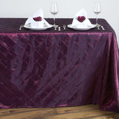 Burgundy Pintuck Tablecloth 90x132""