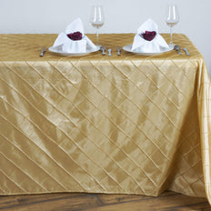 Champagne Pintuck Tablecloth 90x132""