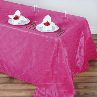 "90"" x 132"" Fushia Taffeta Pintuck Rectangular Tablecloth"