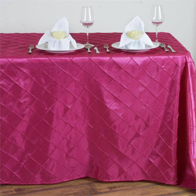 Fushia Pintuck Tablecloth 90x132""