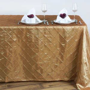 Gold Pintuck Tablecloth 90x132""