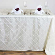 Ivory Pintuck Tablecloth 90x132""