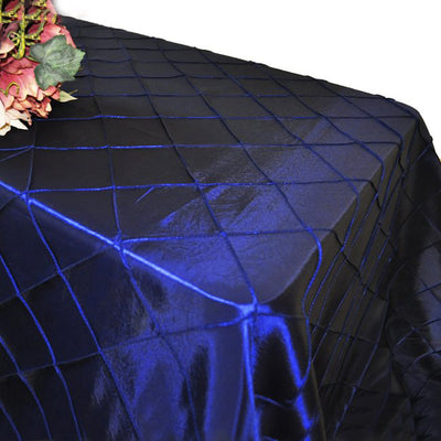 "90"" x 132"" Navy Blue Taffeta Pintuck Rectangular Tablecloth"