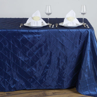 Navy Blue Pintuck Tablecloth 90x132""