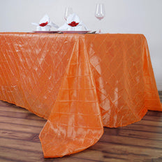 "90"" x 132"" Orange Taffeta Pintuck Rectangular Tablecloth"