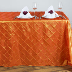 Orange Pintuck Tablecloth 90x132""