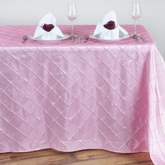 Pink Pintuck Tablecloth 90x132""