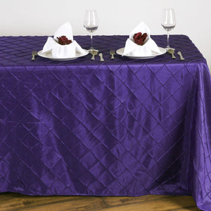 Purple Pintuck Tablecloth 90x132""