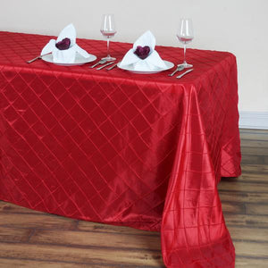 "90"" x 132"" Red Taffeta Pintuck Rectangular Tablecloth"
