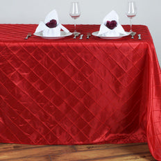Red Pintuck Tablecloth 90x132""