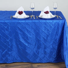 Royal Blue Pintuck Tablecloth 90x132""