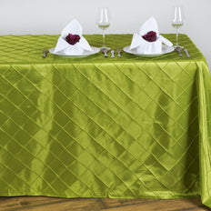Sage Pintuck Tablecloth 90x132""
