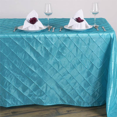 Turquoise Pintuck Tablecloth 90x132""