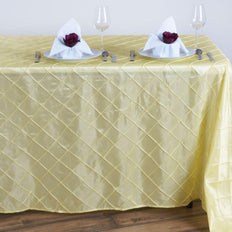 Yellow Pintuck Tablecloth 90x132""
