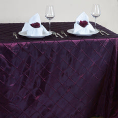 Burgundy Pintuck Tablecloth 90x156""