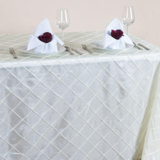 Ivory Pintuck Tablecloth 90x156""