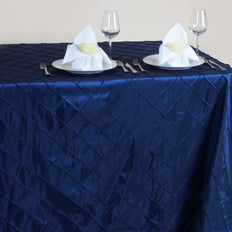 Navy Blue Pintuck Tablecloth 90x156""