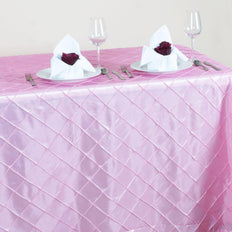 "Pink 90x156"" Pintuck Tablecloths"