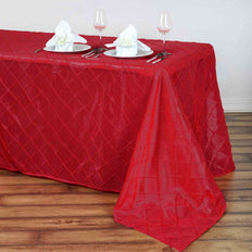 "90"" x 156"" Red Taffeta Pintuck Rectangular Tablecloth"