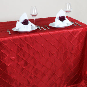 Red Pintuck Tablecloth 90x156""
