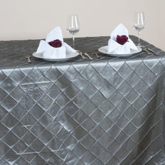 Silver Pintuck Tablecloth 90x156""