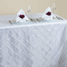 White Pintuck Tablecloth 90x156""