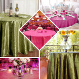 "90"" Moss Green Pintuck Taffeta Round Tablecloth"