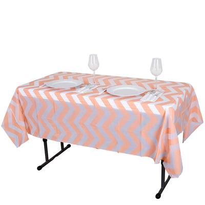 "54"" x 72"" 10 Mil Thick Chevron Waterproof Tablecloth PVC Rectangle Disposable Tablecloth - Blush/Rose Gold"