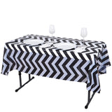 "54"" x 72"" Black 10 Mil Thick Chevron Waterproof Tablecloth PVC Rectangle Disposable Tablecloth"