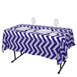 "54"" x 72"" Purple 10 Mil Thick Chevron Waterproof Tablecloth PVC Rectangle Disposable Tablecloth"