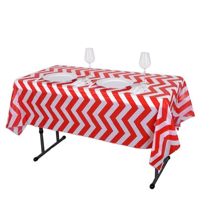 "54"" x 72"" Red 10 Mil Thick Chevron Waterproof Tablecloth PVC Rectangle Disposable Tablecloth"