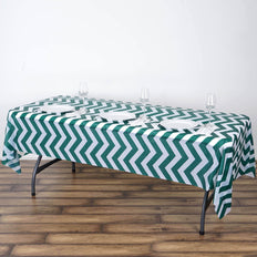 "54"" x 108"" Hunter Emerald Green 10 Mil Thick Chevron Waterproof Tablecloth PVC Rectangle Disposable Tablecloth"
