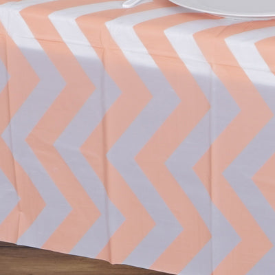 "54"" x 108"" 10 Mil Thick Chevron Waterproof Tablecloth PVC Rectangle Disposable Tablecloth - Blush / Rose Gold"