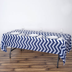 "54"" x 108"" Navy Blue 10 Mil Thick Chevron Waterproof Tablecloth PVC Rectangle Disposable Tablecloth"