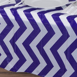 "54"" x 108"" Purple 10 Mil Thick Chevron Waterproof Tablecloth PVC Rectangle Disposable Tablecloth"