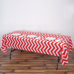 "54"" x 108"" Red 10 Mil Thick Chevron Waterproof Tablecloth PVC Rectangle Disposable Tablecloth"