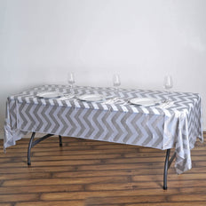 "54"" x 108"" Silver 10 Mil Thick Chevron Waterproof Tablecloth PVC Rectangle Disposable Tablecloth"