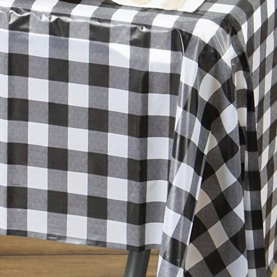 "54"" x 72"" Disposable Checkered Plastic Vinyl Picnic Birthday Party Home Tablecloth - White/ Black"